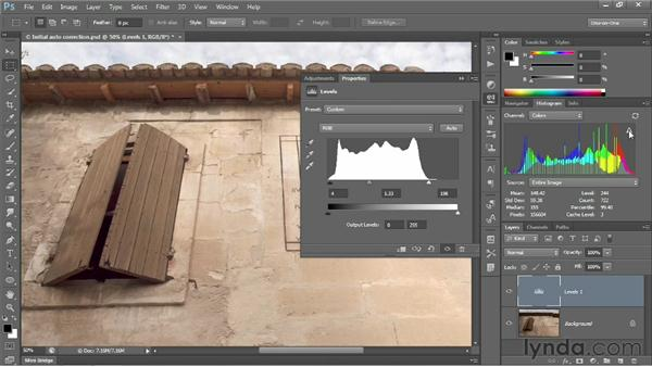 Customizing a Levels adjustment: Photoshop CS6 One-on-One: Intermediate