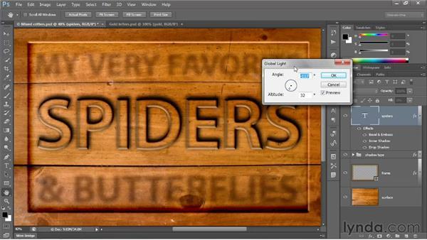 Global Light and rasterizing effects: Photoshop CS6 One-on-One: Intermediate