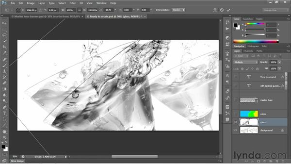 Rotating a layer with Free Transform: Photoshop CS6 One-on-One: Intermediate