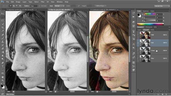 Three ways to grayscale: Photoshop CS6 One-on-One: Intermediate