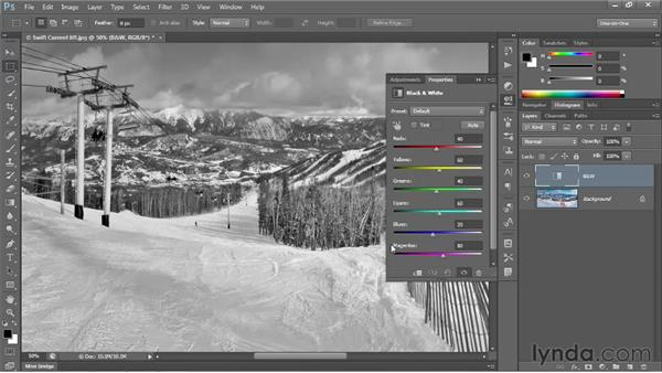Introducing the Black & White command: Photoshop CS6 One-on-One: Intermediate