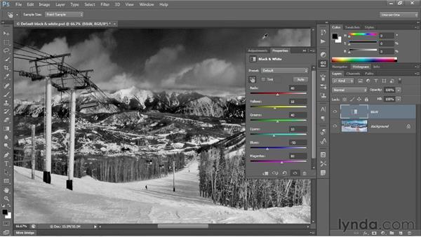 Customizing the Black & White settings: Photoshop CS6 One-on-One: Intermediate