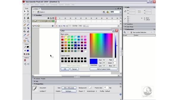 adding custom colors and importing colors: Flash MX 2004 Essential Training