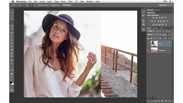 Combining two frames together with masking: Photoshop for Photographers: Compositing