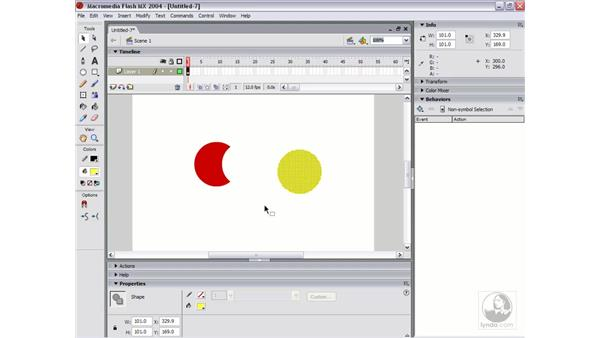 working with multiple objects: Flash MX 2004 Essential Training