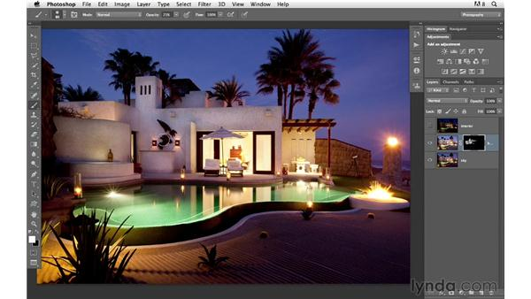 Adding interest by masking in exposure: Photoshop for Photographers: Compositing