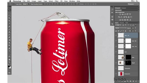 Connecting the rope to the can: Photoshop for Photographers: Compositing