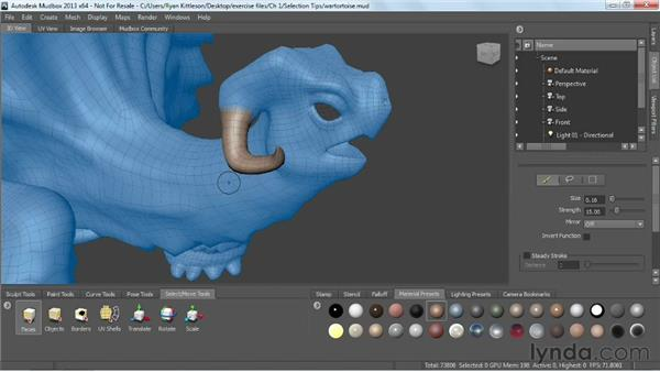 Selection tips and tricks: Mudbox 2013 Essential Training