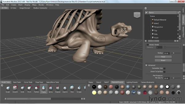Using the standard sculpting tools: Mudbox 2013 Essential Training