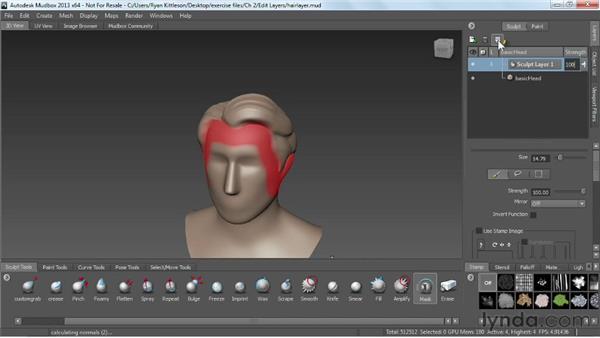 Editing sculpt layers: Mudbox 2013 Essential Training