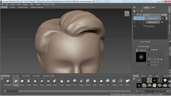 Working with multiple sculpt layers: Mudbox 2013 Essential Training