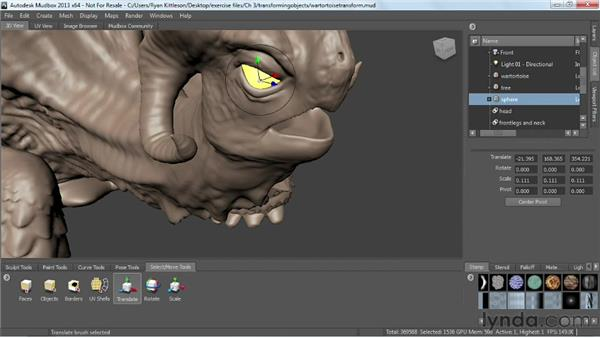 Translating objects: Mudbox 2013 Essential Training