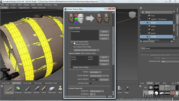 Transfering paint layers between models: Mudbox 2013 Essential Training