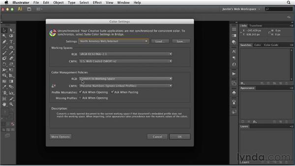 Adjusting color settings: Illustrator for Web Design