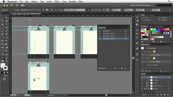 Simulating pages with artboards: Illustrator for Web Design