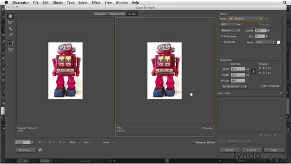 Optimizing photographs: Illustrator for Web Design