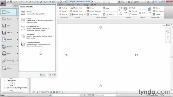 Exploring the Recent Files window and the application menu: Revit Architecture 2013 Essential Training
