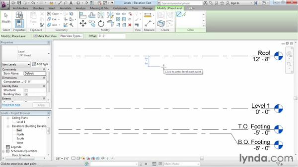 Adding levels: Revit Architecture 2013 Essential Training