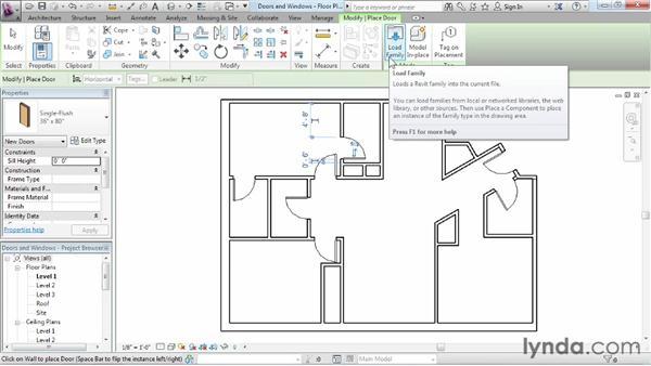 Adding doors and windows: Revit Architecture 2013 Essential Training