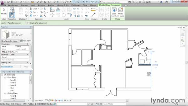 Adding plumbing fixtures and other components: Revit Architecture 2013 Essential Training