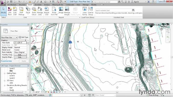 Creating topography from a DWG link: Revit Architecture 2013 Essential Training