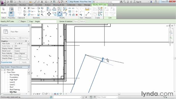 Rotating and aligning a Revit link: Revit Architecture 2013 Essential Training