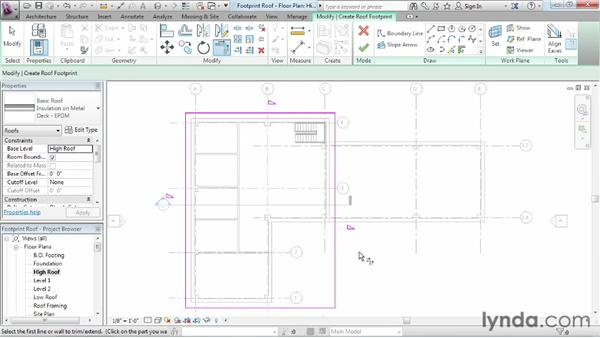 Working with footprint roofs: Revit Architecture 2013 Essential Training