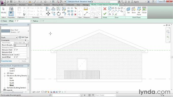 Working with extrusion roofs: Revit Architecture 2013 Essential Training
