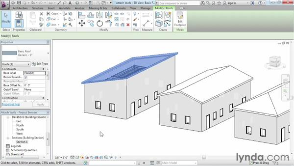 Attaching walls to roofs: Revit Architecture 2013 Essential Training
