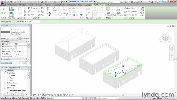 Using the shape editing tools to create a flat roof: Revit Architecture 2013 Essential Training