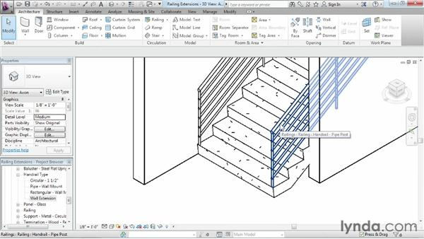 Adding extensions to railings: Revit Architecture 2013 Essential Training