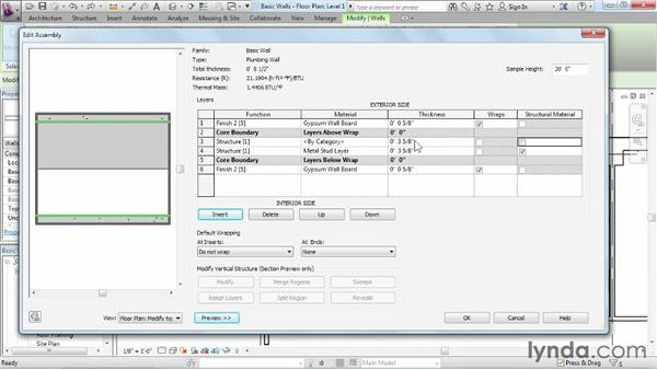 Creating a custom basic wall type: Revit Architecture 2013 Essential Training