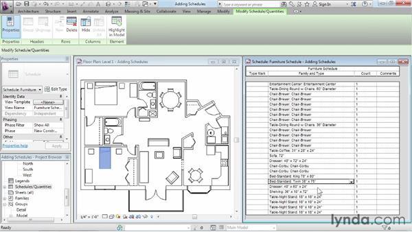 Adding schedule views: Revit Architecture 2013 Essential Training