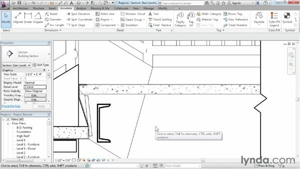 Adding filled and masking regions: Revit Architecture 2013 Essential Training