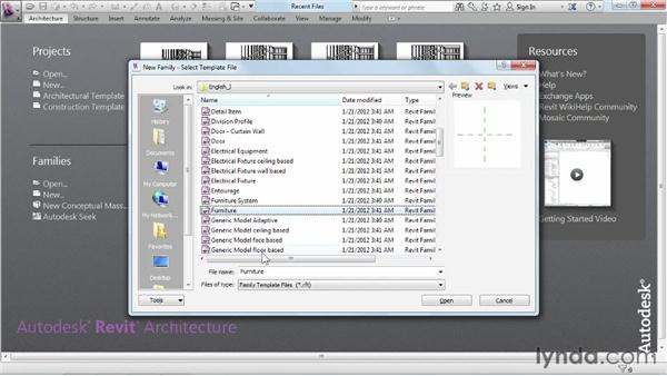 Creating a new family from a template: Revit Architecture 2013 Essential Training