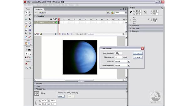 trace bitmap: Flash MX 2004 Essential Training