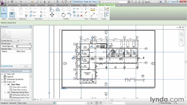 Aligning views with a guide grid: Revit Architecture 2013 Essential Training