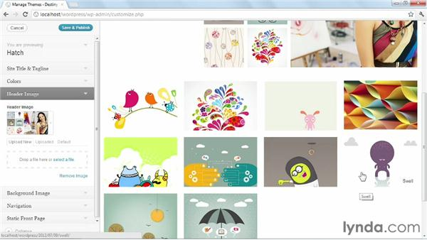 Configuring the theme's header, menu, and background: Start with a Theme: Creative Portfolios in WordPress