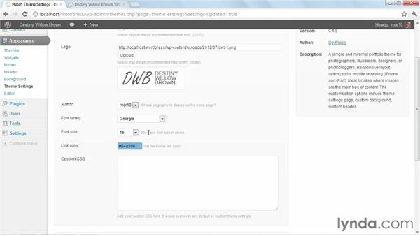 Configuring theme options: Start with a Theme: Creative Portfolios in WordPress