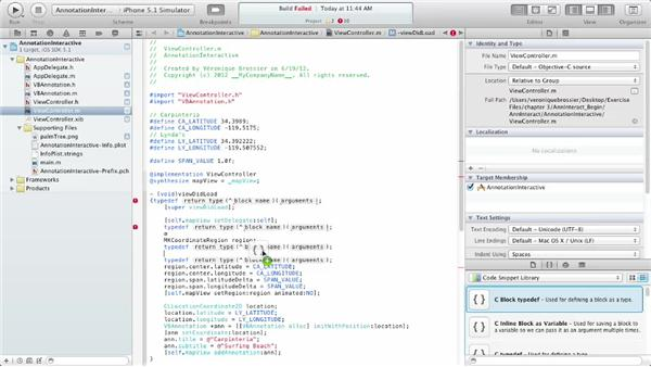 Using the exercise files: iOS SDK: Building Apps with MapKit and Core Location