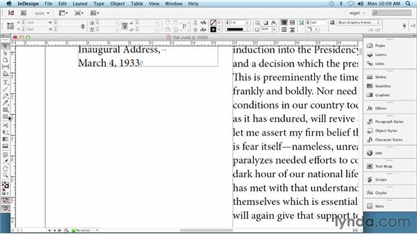 Working with text frames: InDesign Typography (2012)