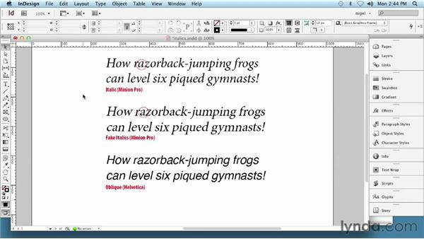 Using italic and oblique type: InDesign Typography (2012)