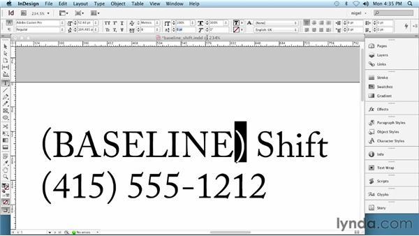 Applying baseline shift: InDesign Typography (2012)