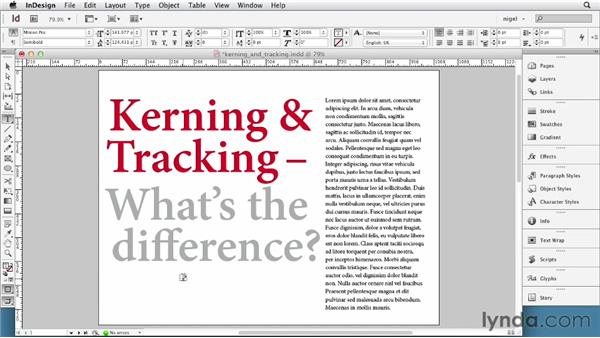 Defining kerning and tracking: InDesign Typography (2012)