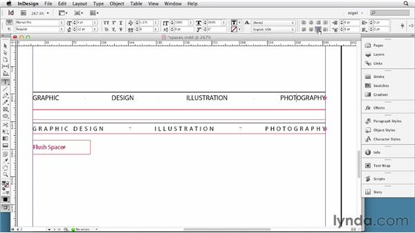 Using space characters: InDesign Typography (2012)