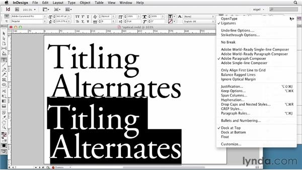Working with optical sizes: InDesign Typography (2012)
