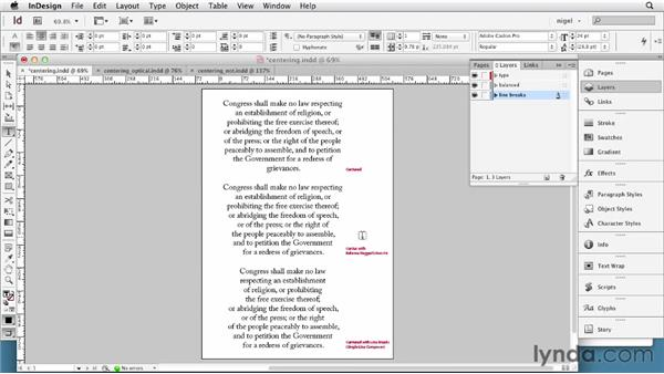 Working with center alignment: InDesign Typography (2012)