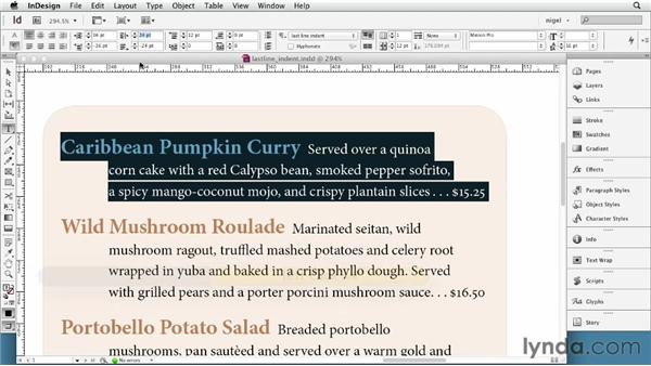 Using last-line indents and outdents: InDesign Typography (2012)