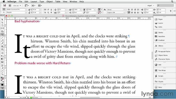 Working with line breaks and discretionary hyphens: InDesign Typography (2012)
