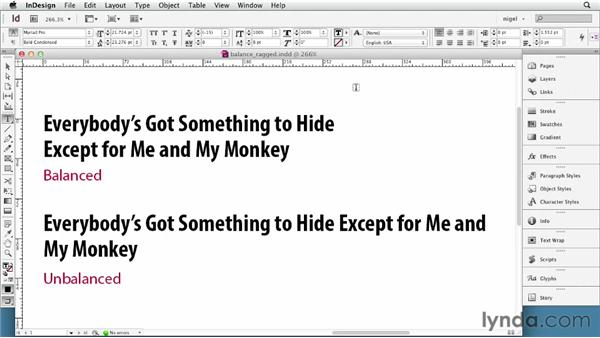 Balancing ragged lines: InDesign Typography (2012)